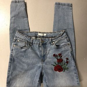 myStyle Floral Embroidered Tapered Stretch Jeans 8